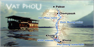 A Floating hotel cruising the south Mekong in Laos